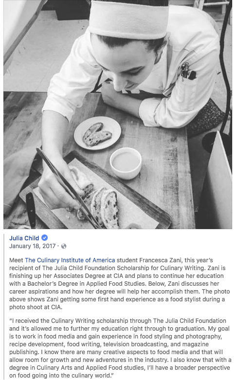 Julia Child Foundation - Scholarship for Culinary Writing, 2016-2017