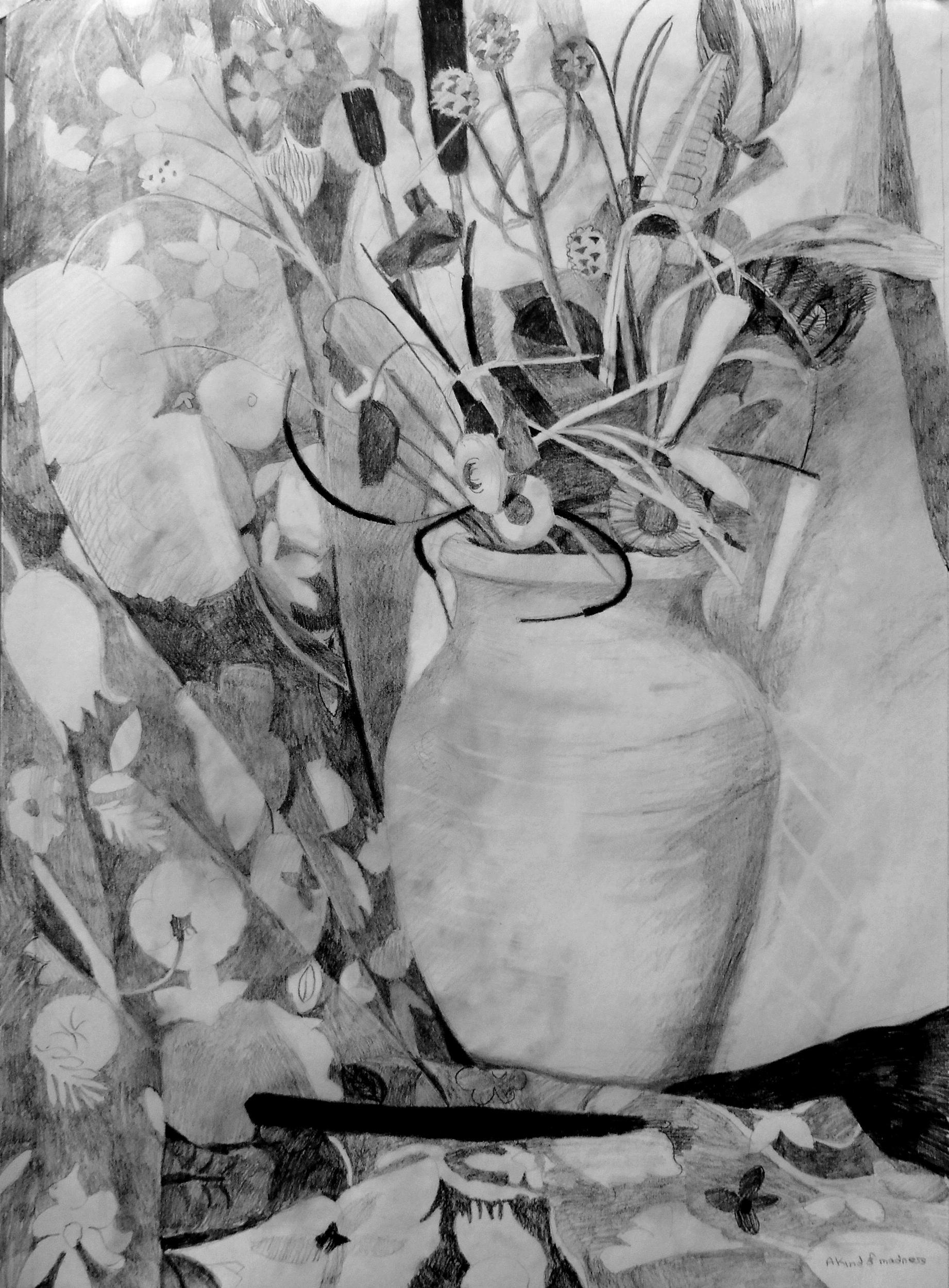 Vase de fleurs séchées I, dessin