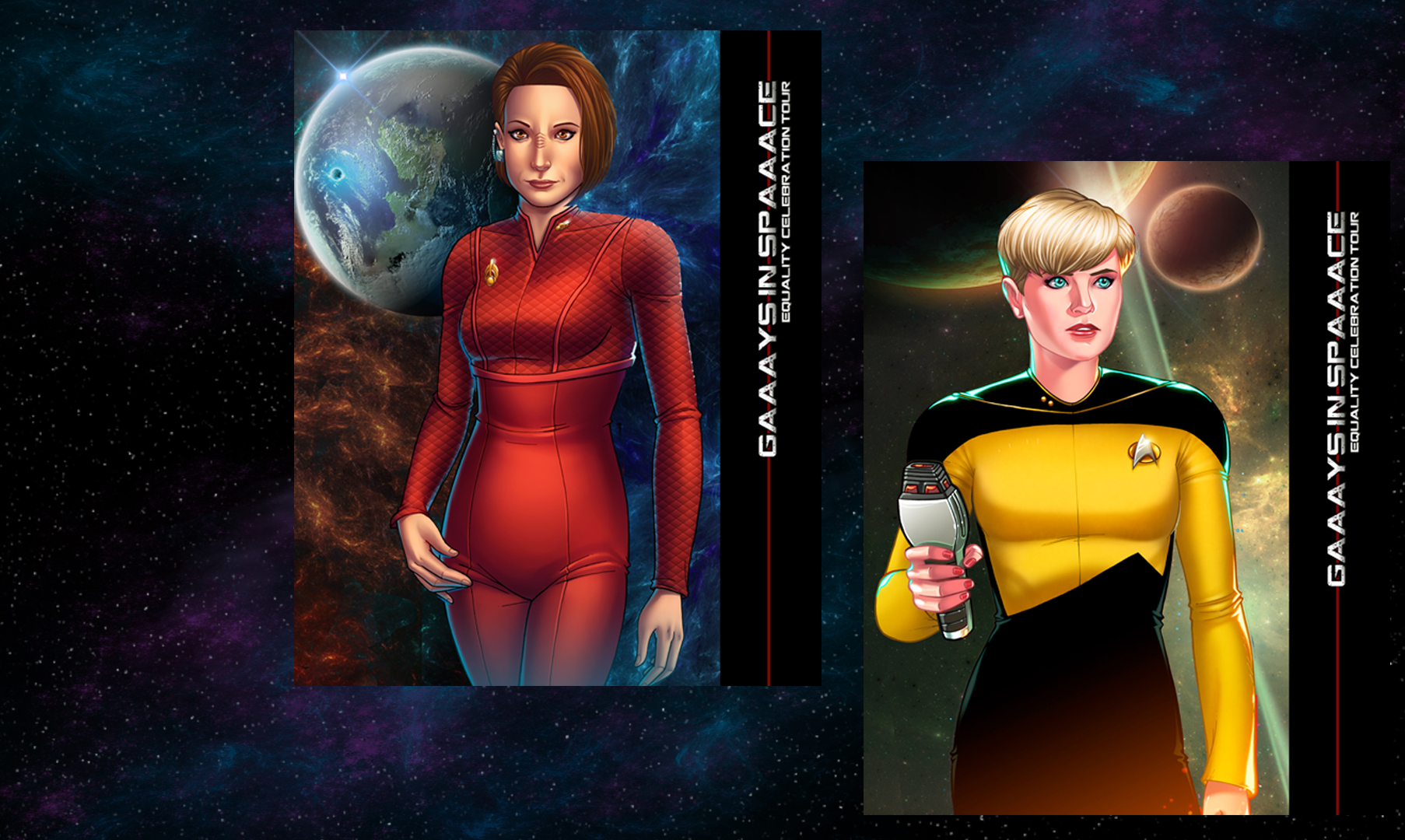 AUTOGRAPHED 'GIS' CHARACTER CANVASES - NANA VISITOR as 'Colonel Kira Nerys' (DS9) & DENISE CROSBY as 'Lt. Tasha Yar' (TNG)NOT AVAILABLE AT A RETAIL PRICE