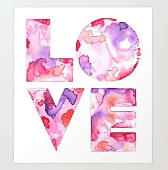 "LOVE, watercolour on yupo paper. 7"" x 8"""