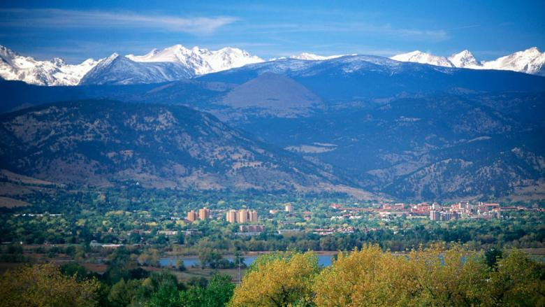 Boulder Colorado showing the Front-Range foothills and continental divide in the Rocky Mountains to the west.