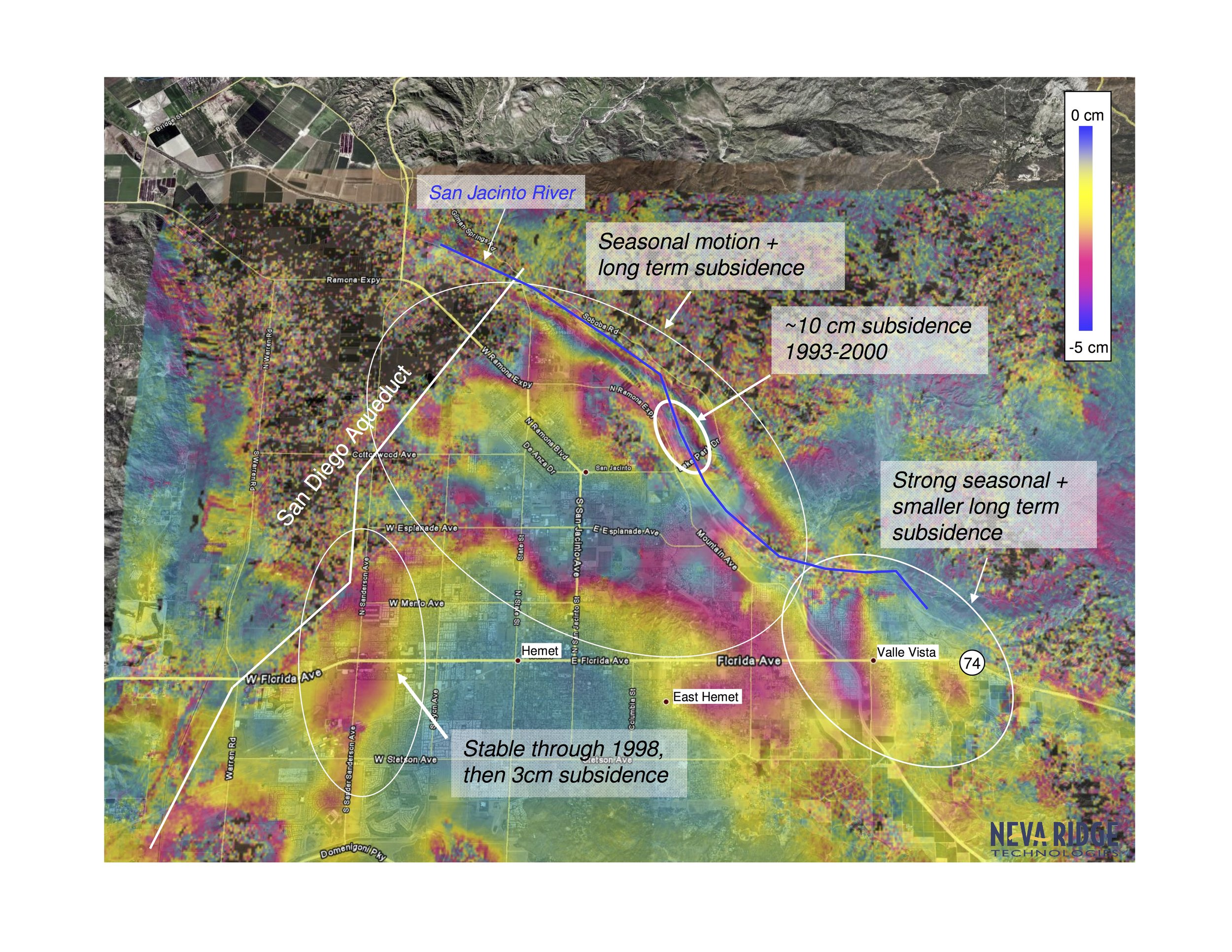 SAR Interferometry provides ground motion maps sensitive to less than 1 cm of motion