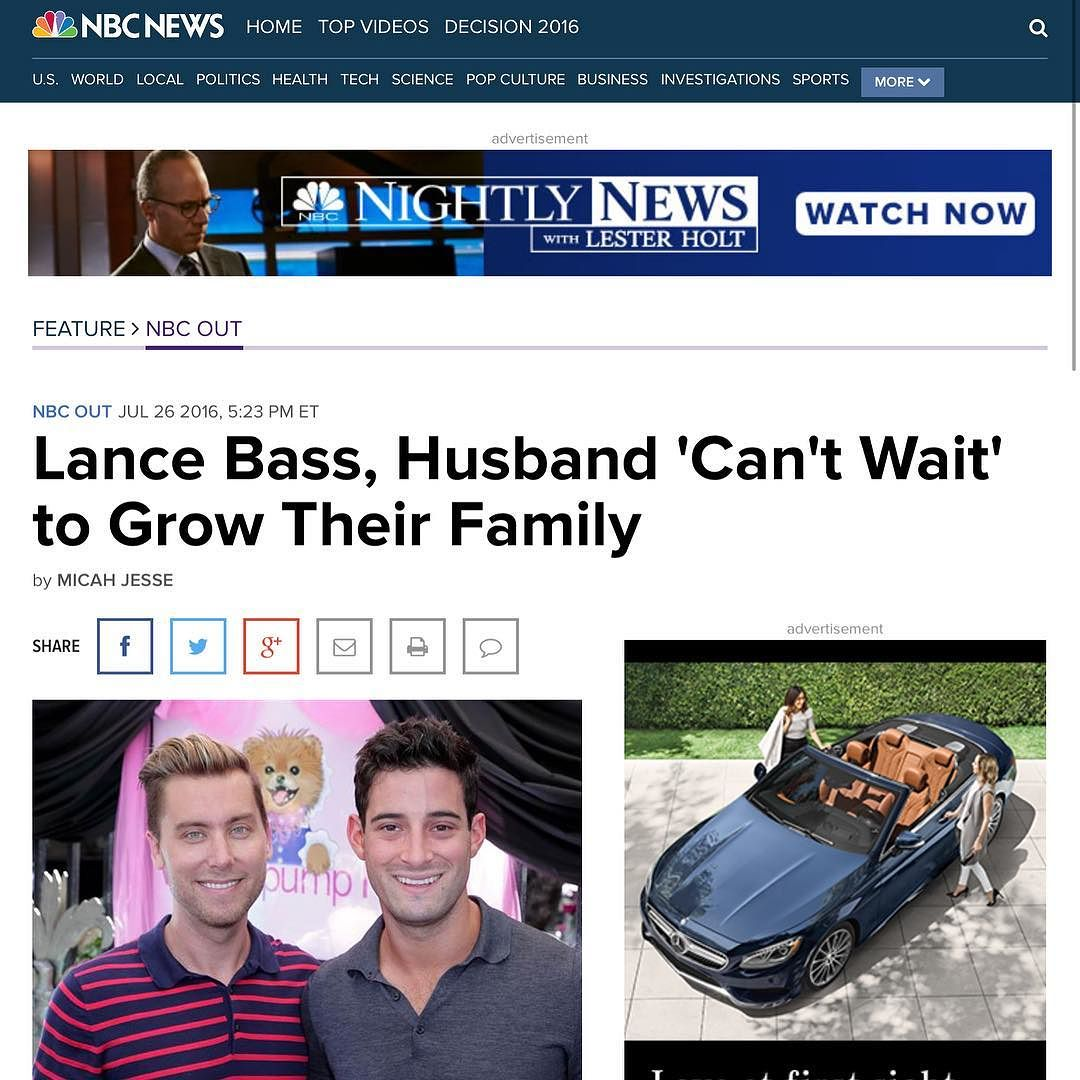 Now on @NBCOUT @LanceBass and #hubby @MichaelTurchinArt can't wait to grow their family.%0A------------------------------------%0ASinger #LanceBass and his artist husband, #MichaelTurchin, have been married since #December 2014, when the duo made #histor.jpg