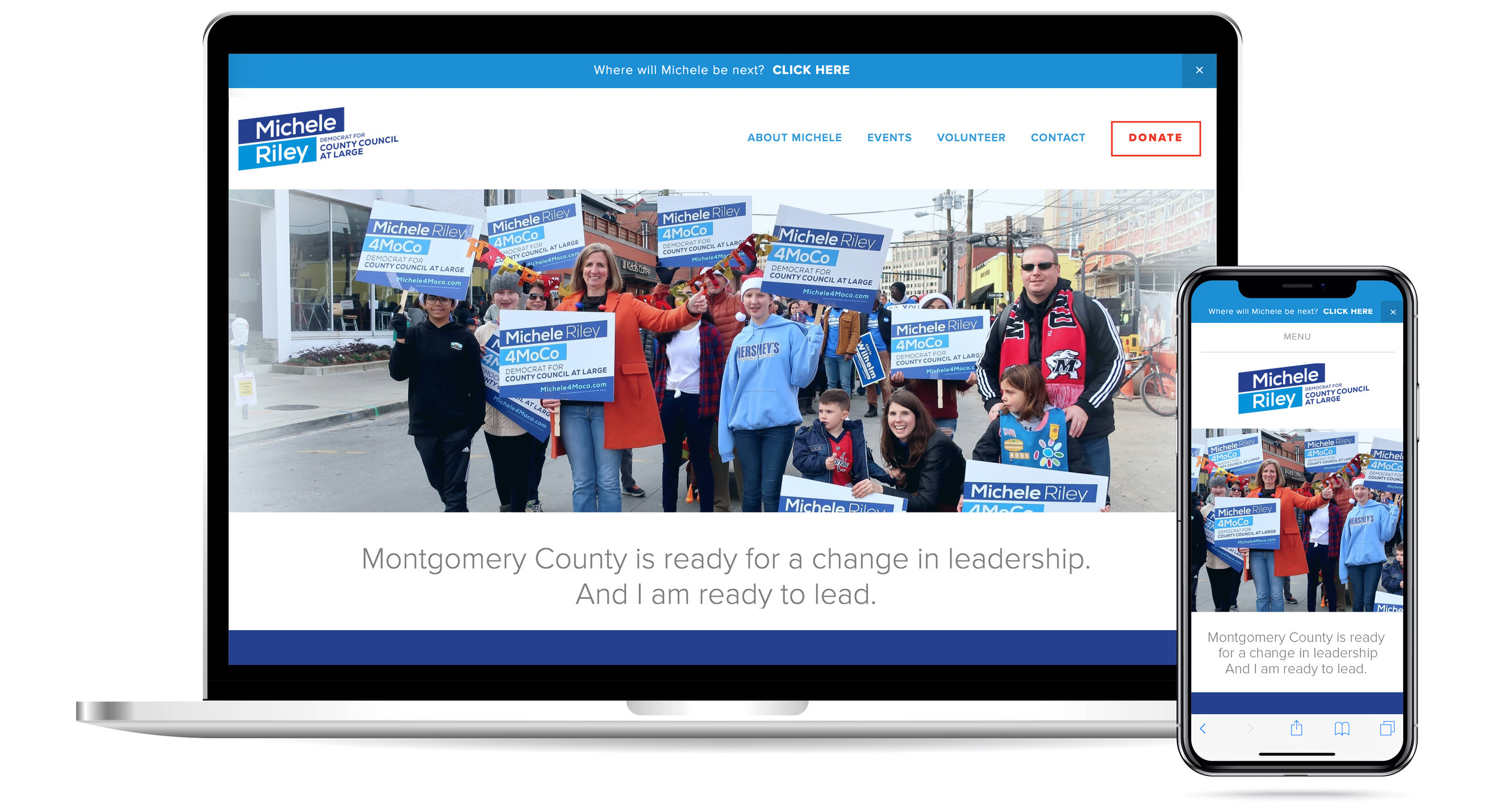 Site no longer active, but this will link to share overview of my client Michele Riley who ran for County Council — her first-ever political run.