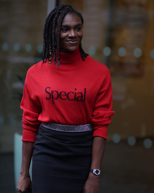 Dina  Asher-Smith @christopherkane #lfw #aw19 #beauty #100metres #britishatlete #fashion #special @dinaashersmith .  @shotbysherion
