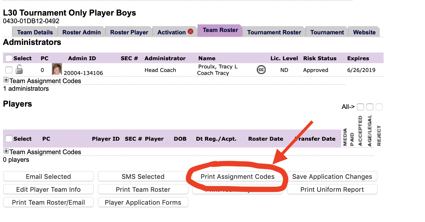Once you have registered as a Coach or Team Admin - you can access your Print Assignment Codes button from your team roster.