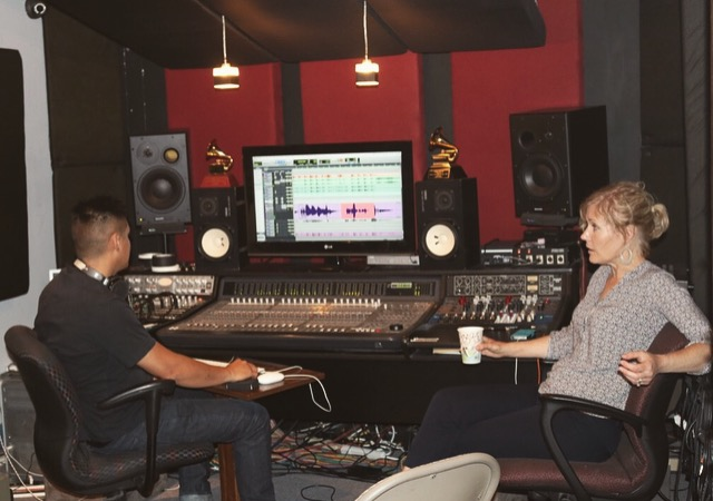 Sounds engineer and Grammy award winner Chris Sulit from  Trading 8's Studio  with good friend and remarkable musician Nicki Parrott.