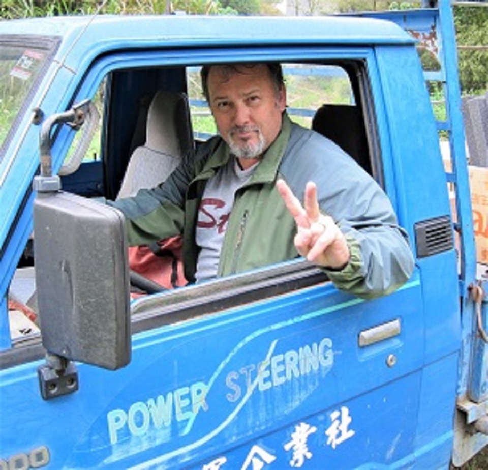 Keith Ekstam driving the school truck at Tainan National University of the Arts, March, 2012.
