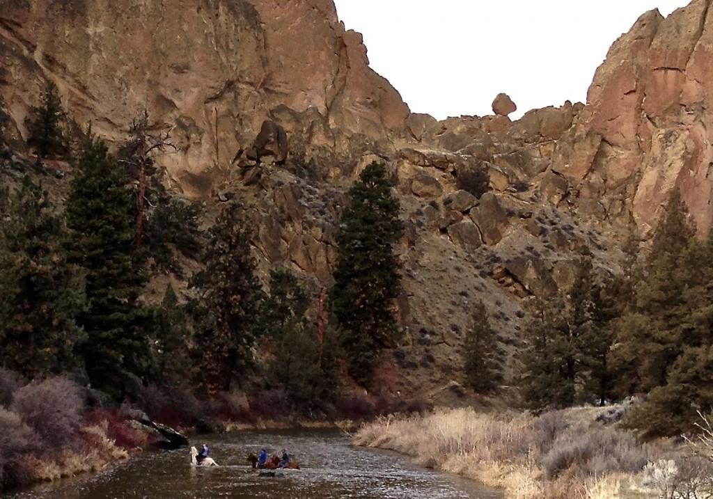 horseback ride requires fording the Crooked River off the Canyon Trail at Smith Rock State Park