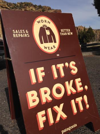 Patagonia Worn Wear Fix It Sign