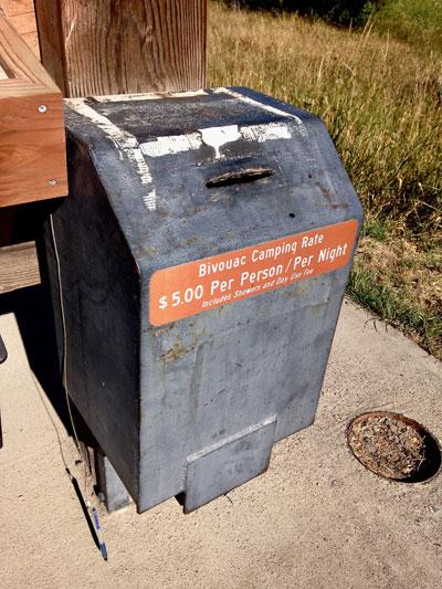 original metal fee box at Smith Rock State Park