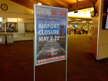 Redmond Airport airport closure sign