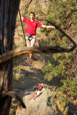 Brian Mosbaugh on a highline at Smith Rock