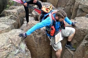Smith Rock Spring Sting racers on Gorge column ridge
