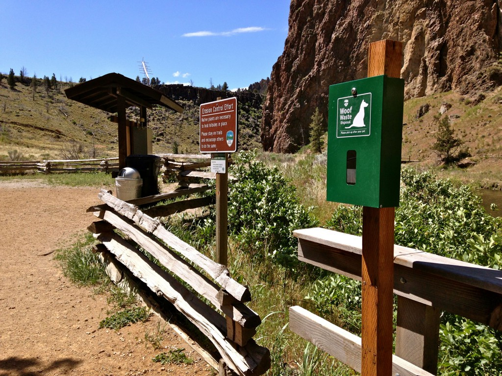 Woof Waste bag station at Smith Rock State Park