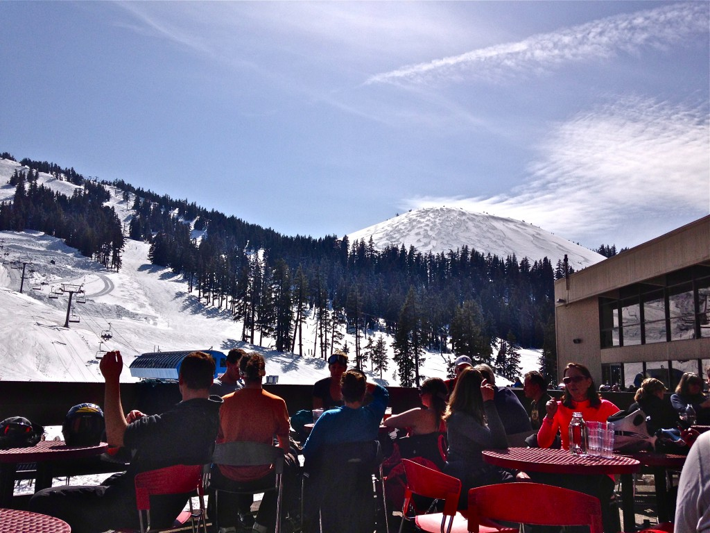 spring skiing outdoor cafe at Mt Bachelor
