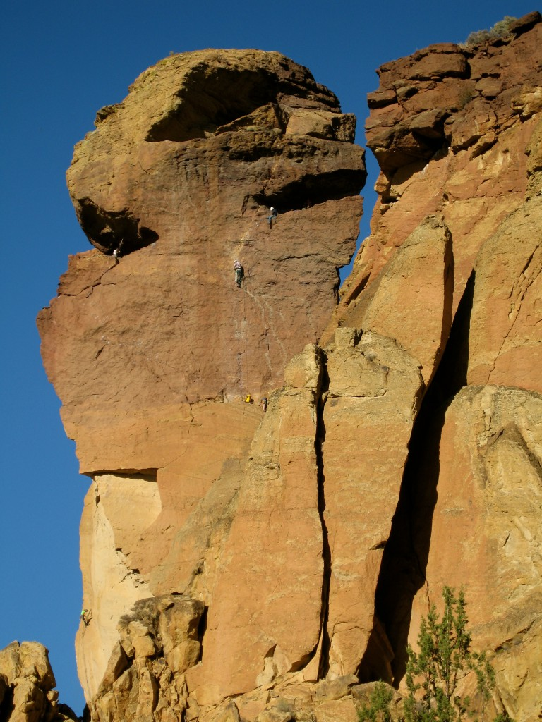 climbers on the Pioneer Route of Monkey Face at Smith Rock State Park