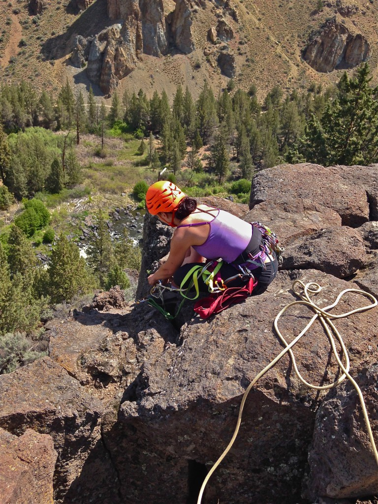 climber at the Northern Point at Smith Rock State Park
