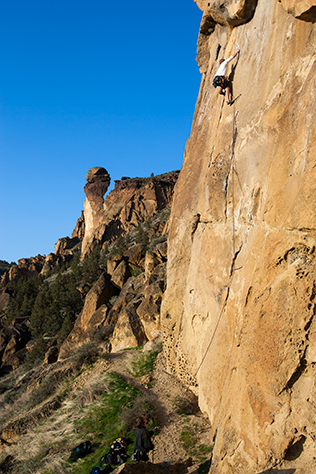 climber on Snake Rock of the West Side Crags at Smith Rock State Park