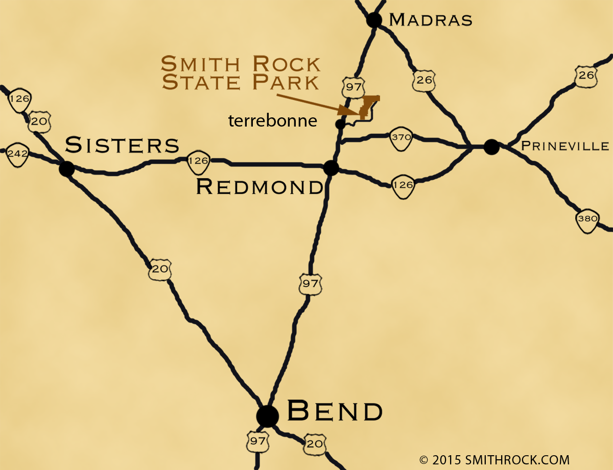 Location of Smith Rock in Central Oregon