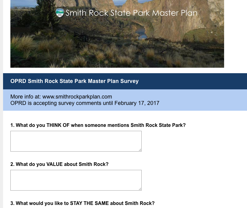 OPRD Smith Rock Master Plan Survey is available online until February 17, 2017