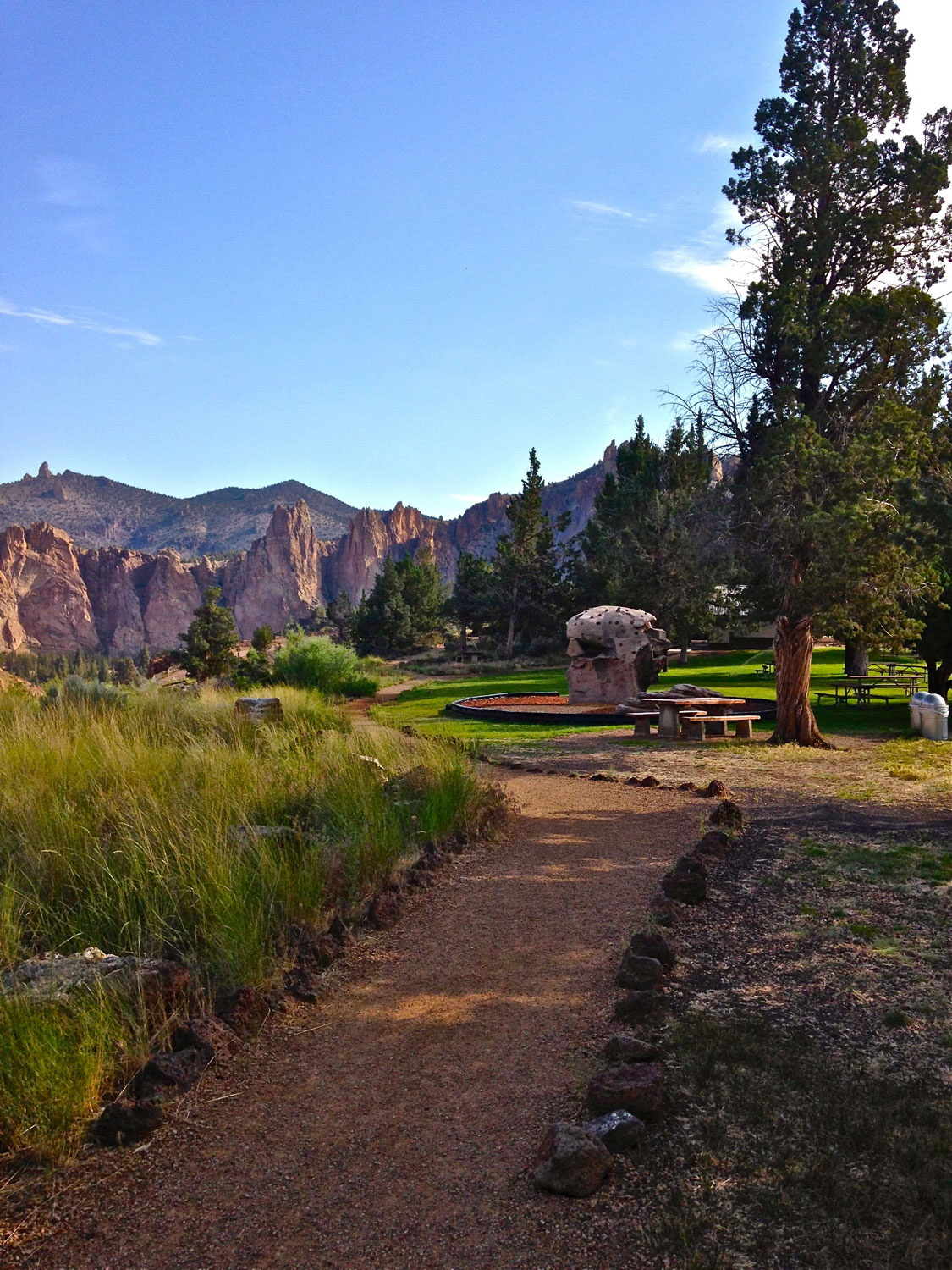 Rim Rock Trail along the picnic and play areas at Smith Rock State Park.