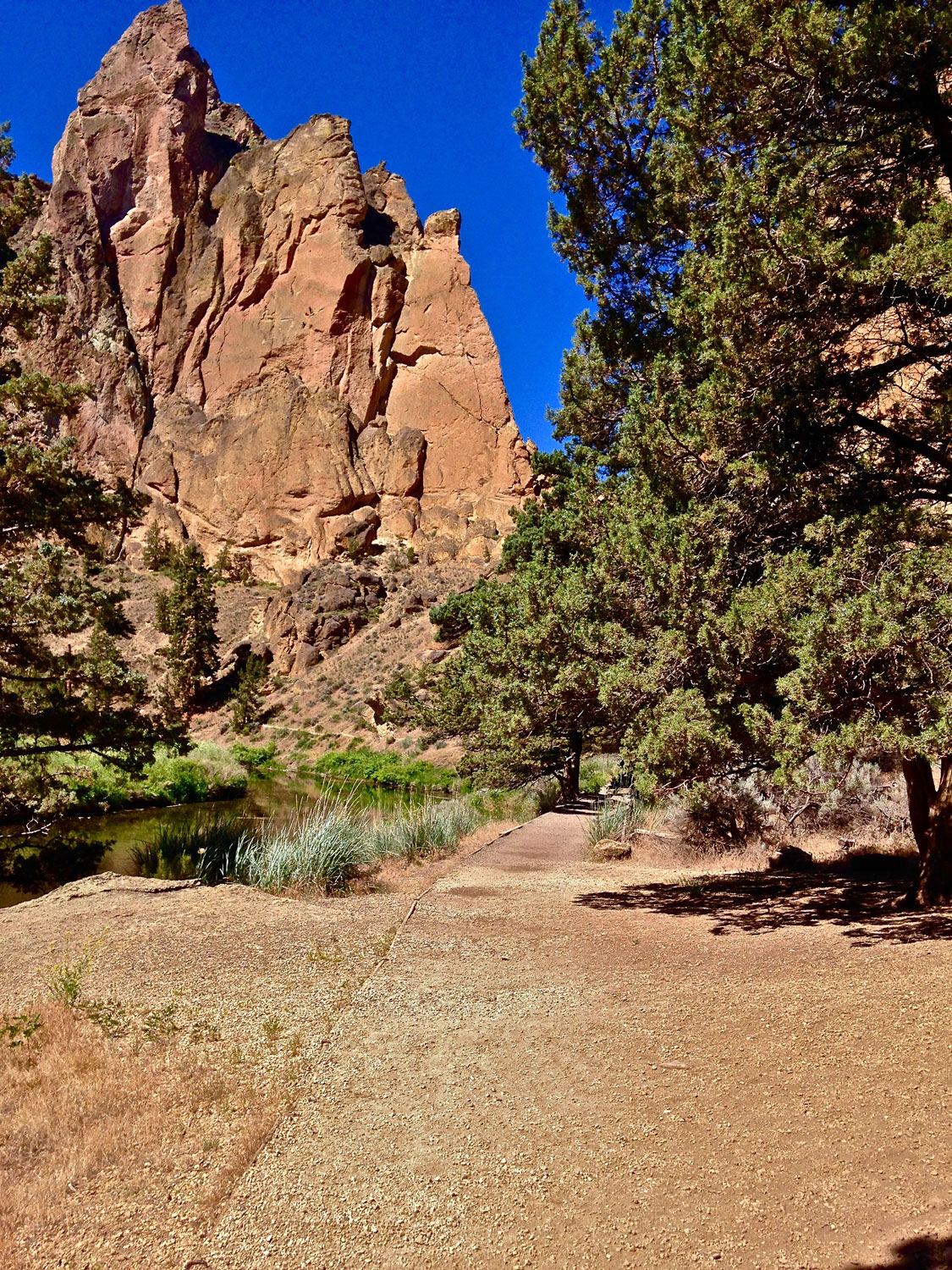 The River Trail path takes you past the big walls and major climbing areas at Smith Rock State Park.