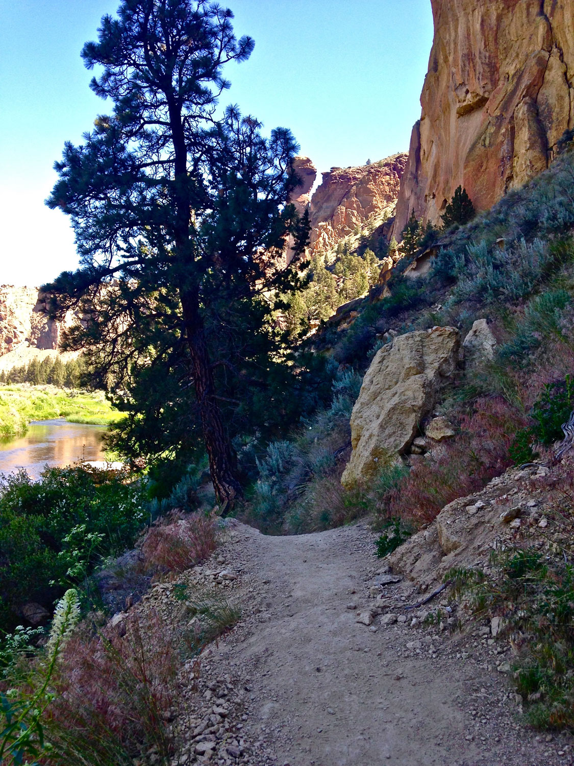 Undulating scree surfaces can be slippery on the River Trail at Smith Rock State Park.