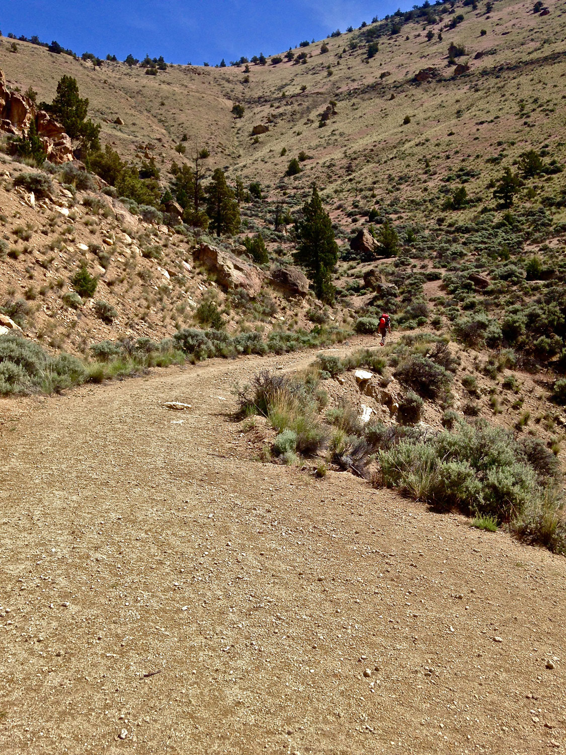 Outside of Smith Rock State Park the Burma Road Trail becomes an irrigation canal access road.