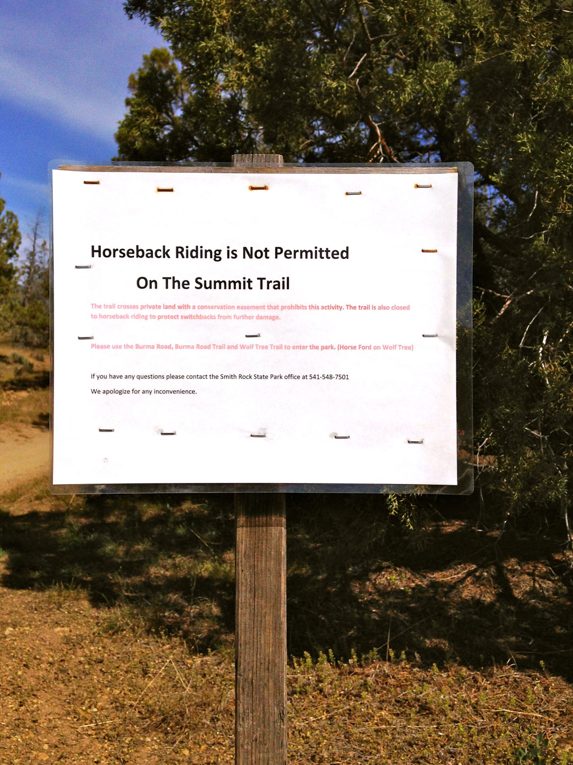 While horseback riding is permitted on the River Trail to where riders officially ford the Crooked River, it is not allowed on the Summit Trail at Smith Rock State Park.