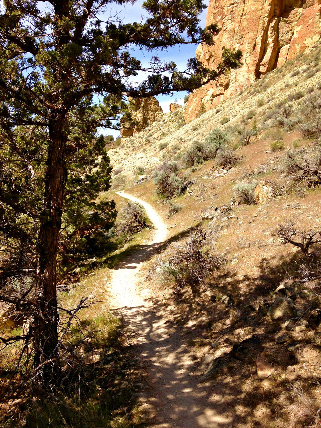 The Summit Trail at Smith Rock State Park moves away from the river and toward the rock walls.