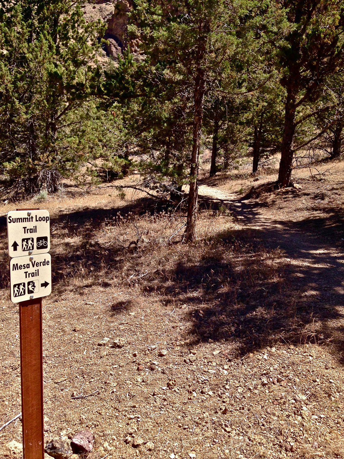Continuing down the RIver Trail at Smith Rock State Park you come to the second junction of the Mesa Verde Trail.