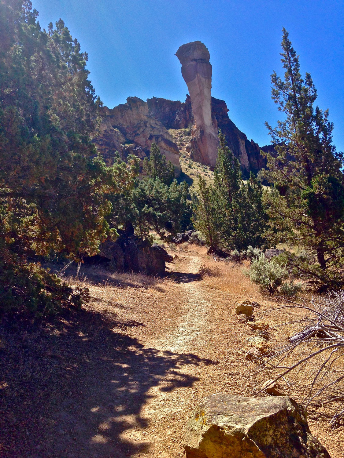 Ascending the Mesa Verde Trail from the backside of Monkey Face at Smith Rock State Park.