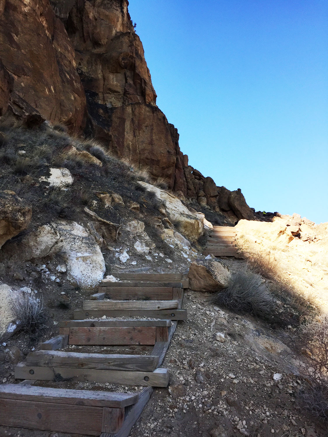 More stairs have been added each year on the Misery Ridge Trail due to accelerated erosion from those not staying on the trails  at Smith Rock State Park.