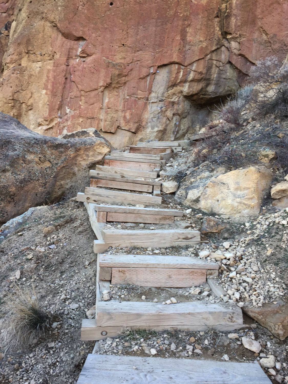 Stairs interspersed with scree on the Misery Ridge Trail help to prevent further erosion at Smith Rock State Park.