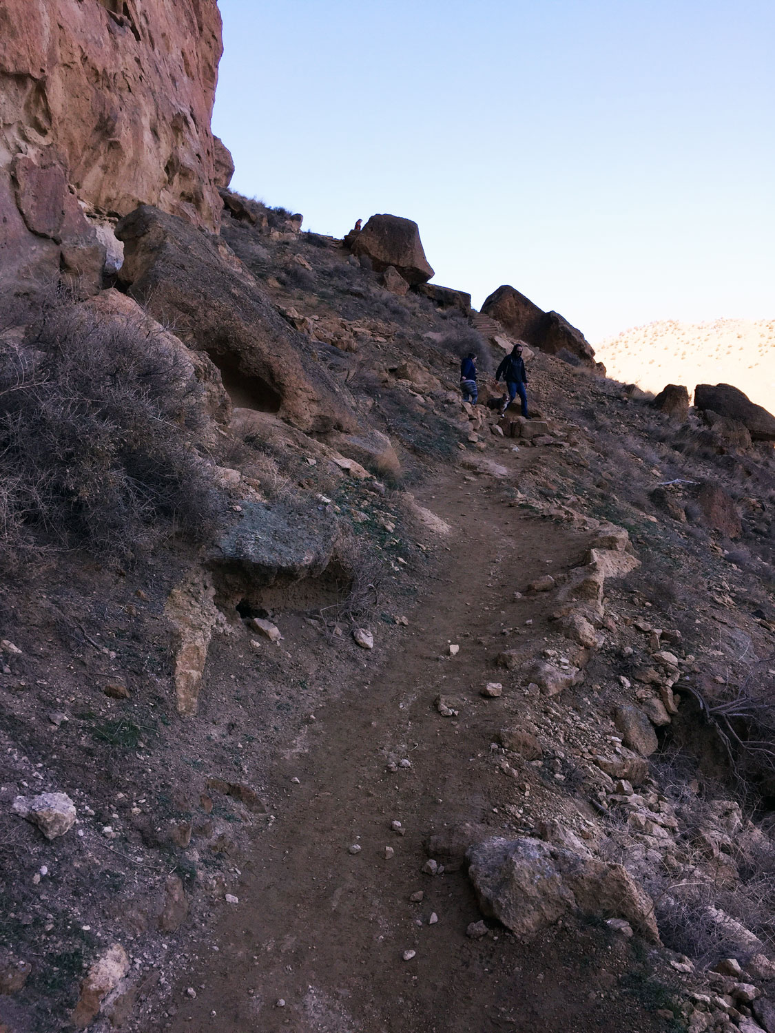 The Misery Ridge Trail ascends immediately on a scree surface at Smith Rock State Park.