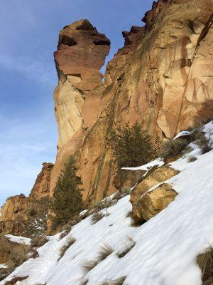 Winter rock climbers on Monkey Face