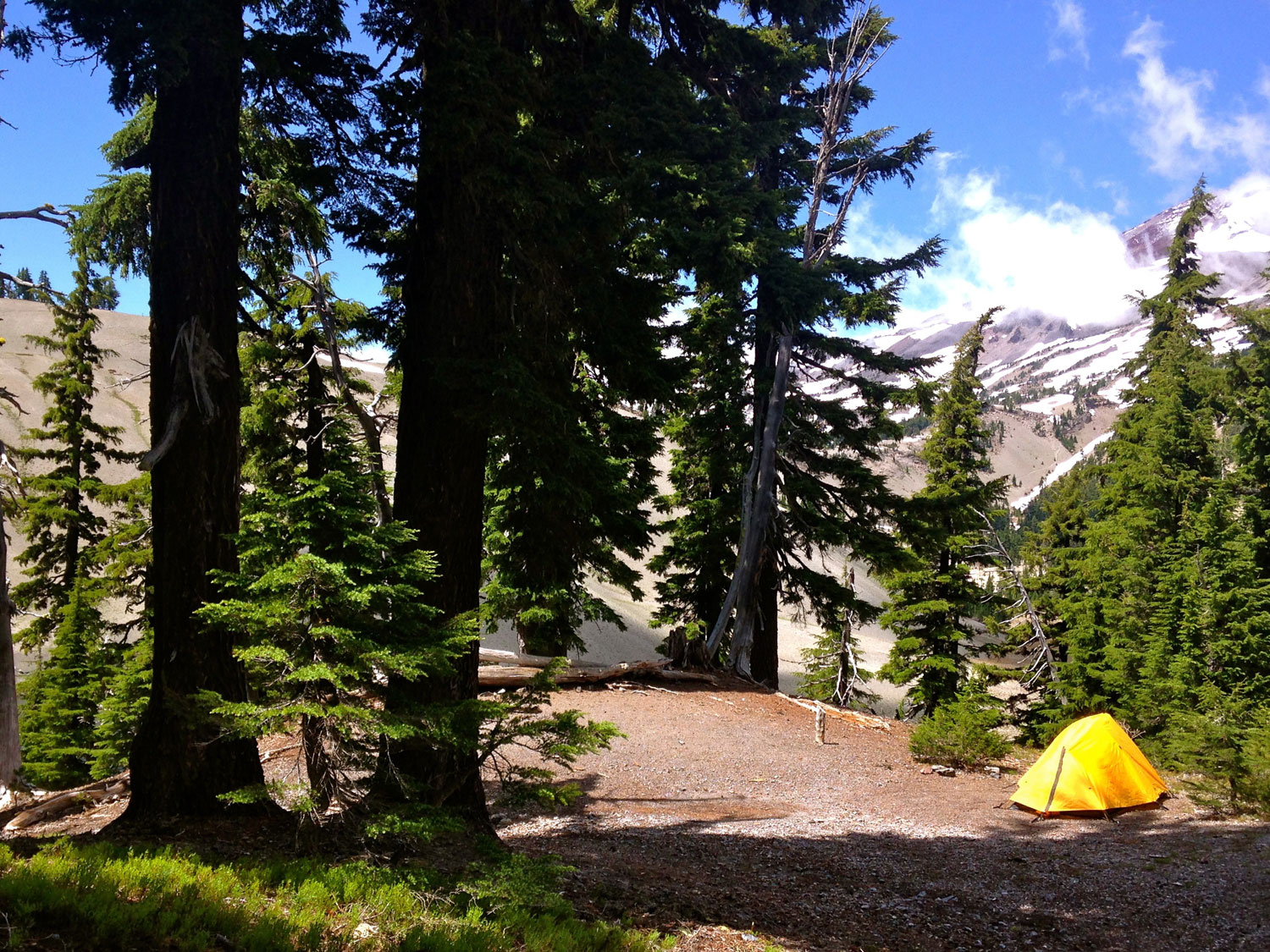Camping at Moraine Lake at the base of the South Sister