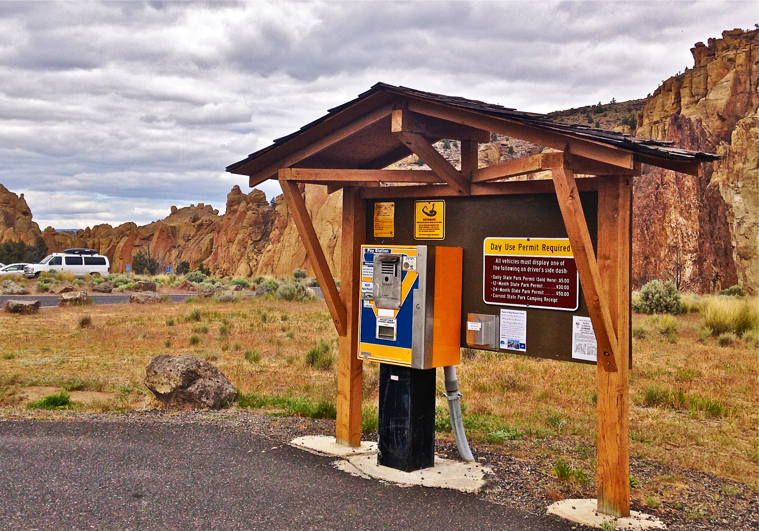 RV Parking Lot Fee Station at Smith Rock State Park