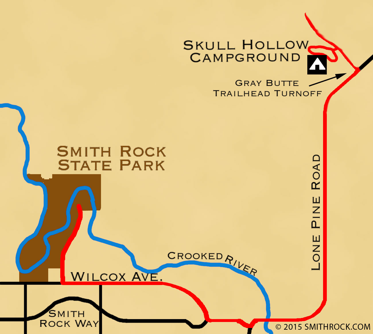 map from Smith Rock State Park to Skull Hollow Campground—click to enlarge