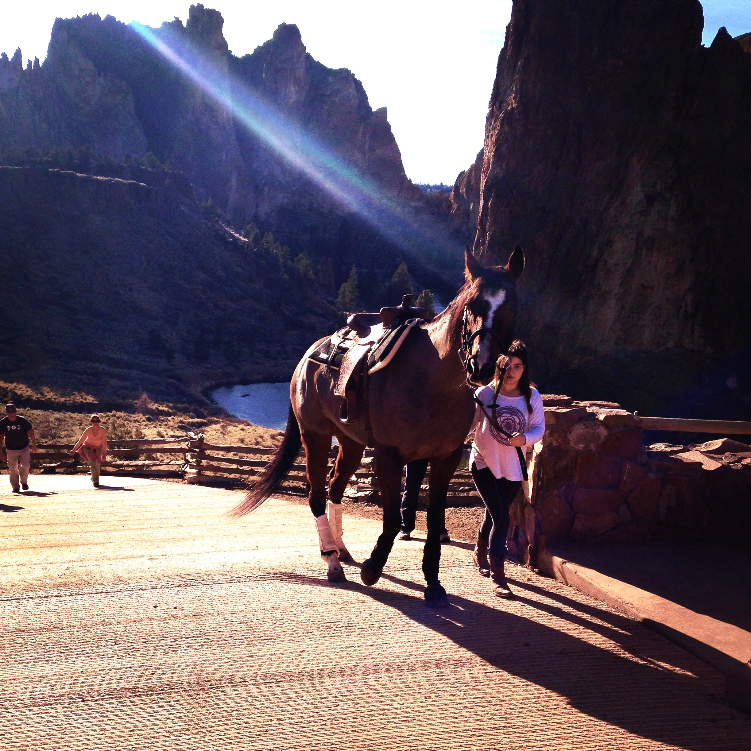 horseback rider exiting Smith Rock State Park on the Canyon Trail road at the Overlook