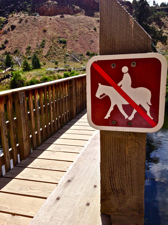 no horseback riding across the bridge at Smith Rock State Park