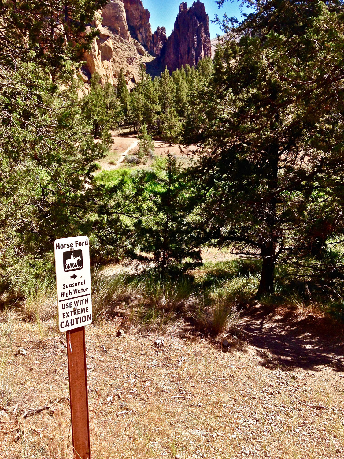 horse ford sign on the  Wolf Tree Tree Trail  at Smith Rock State Park