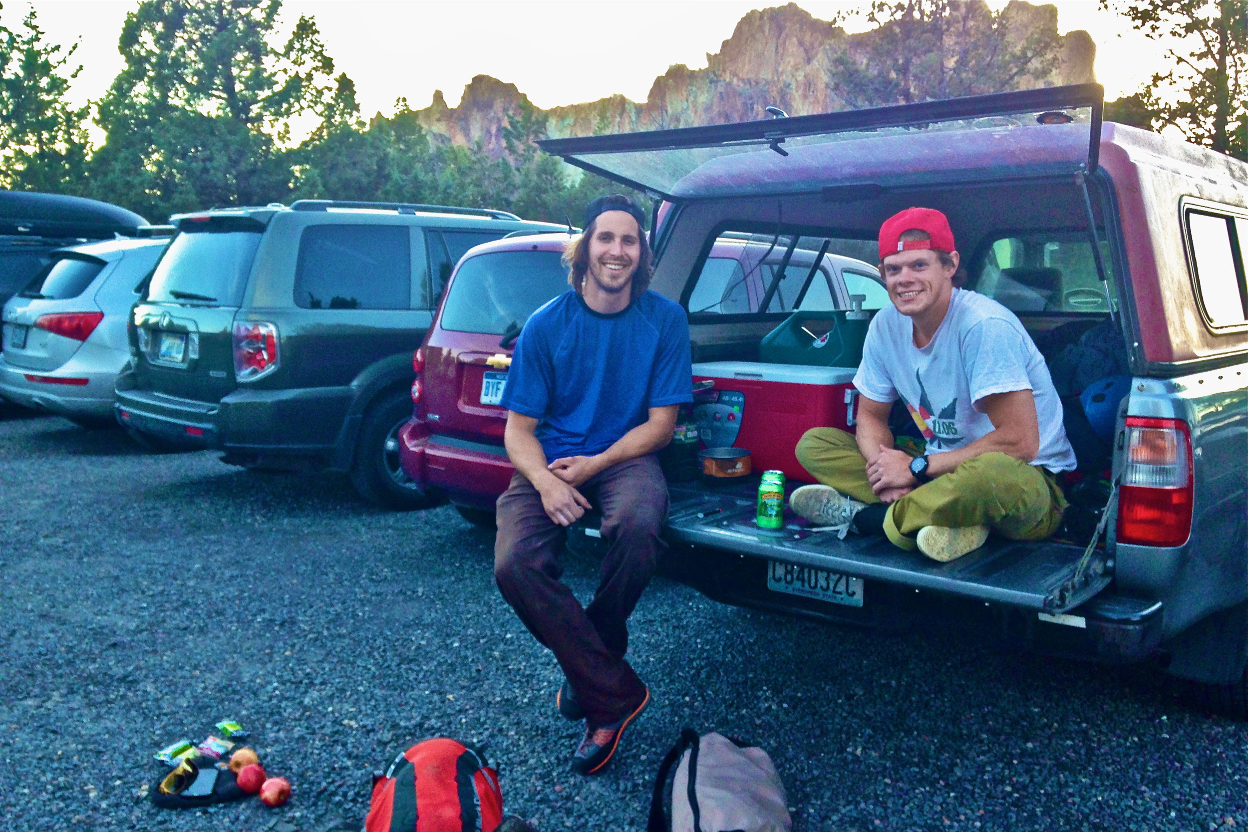 climbers hanging out in the parking area at the Bivy campground at Smith Rock State Park