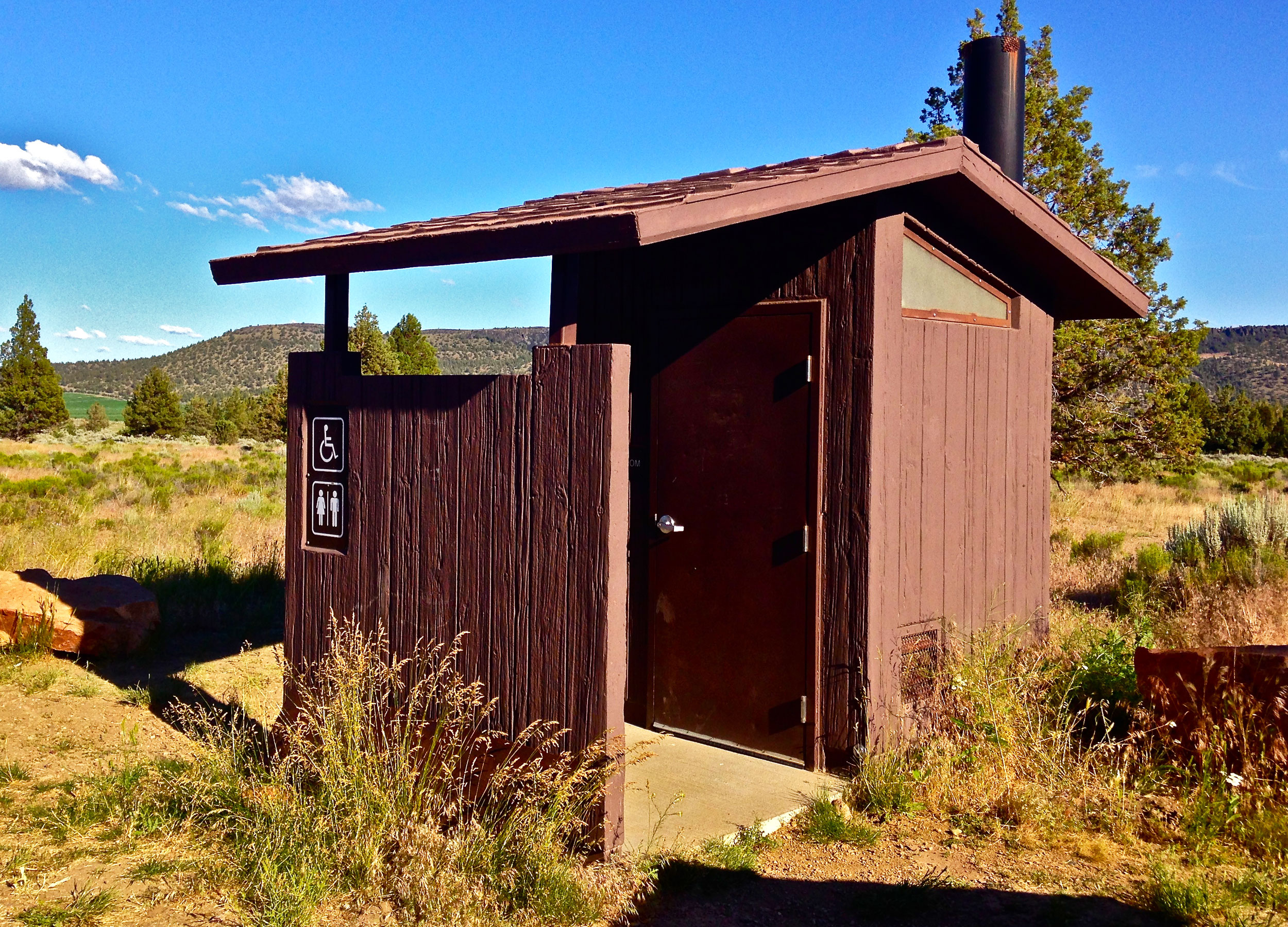 one of two pit toilets at Skull Hollow Campground