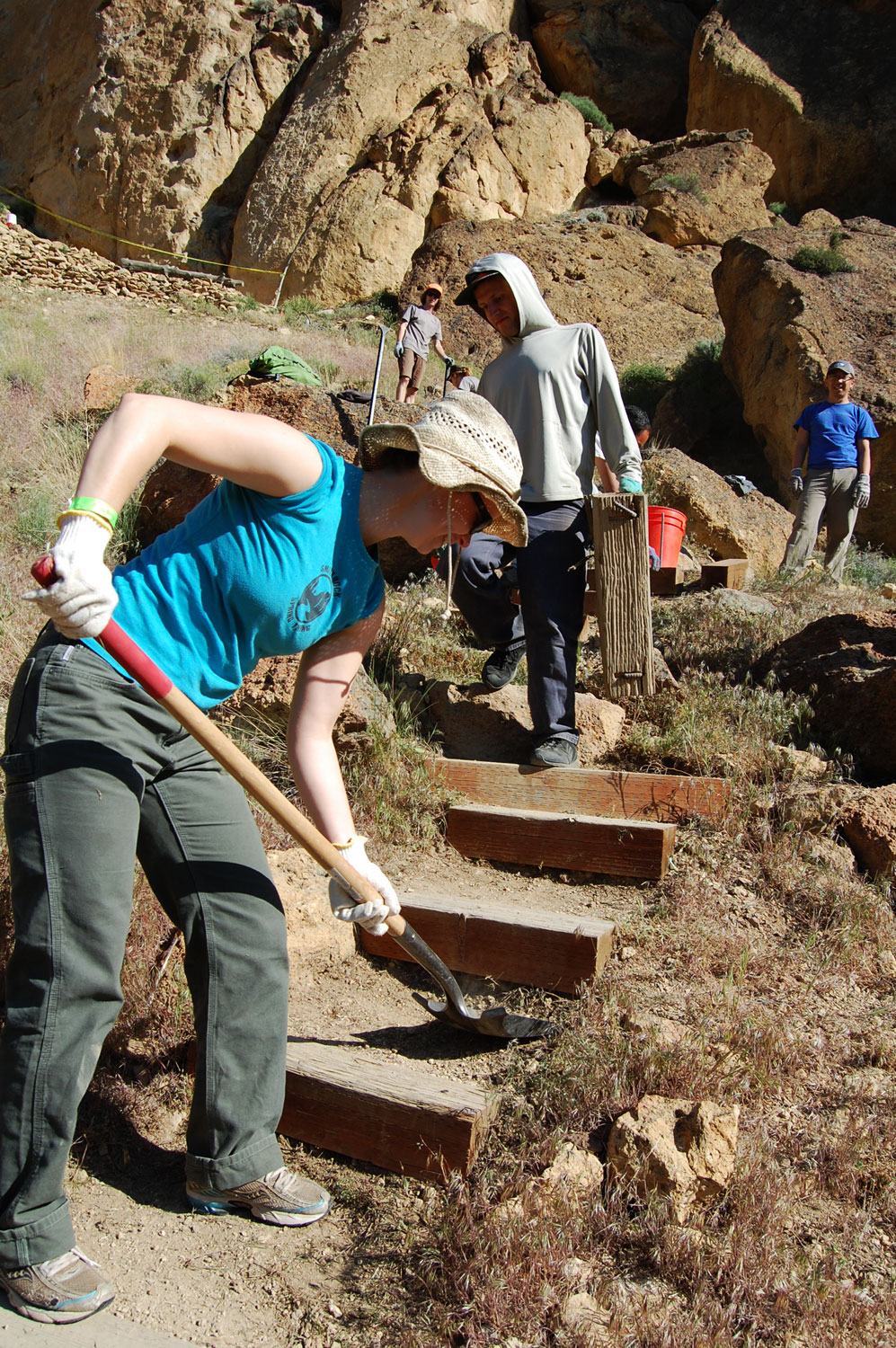 Smith Rock Spring Thing volunteer building stairs