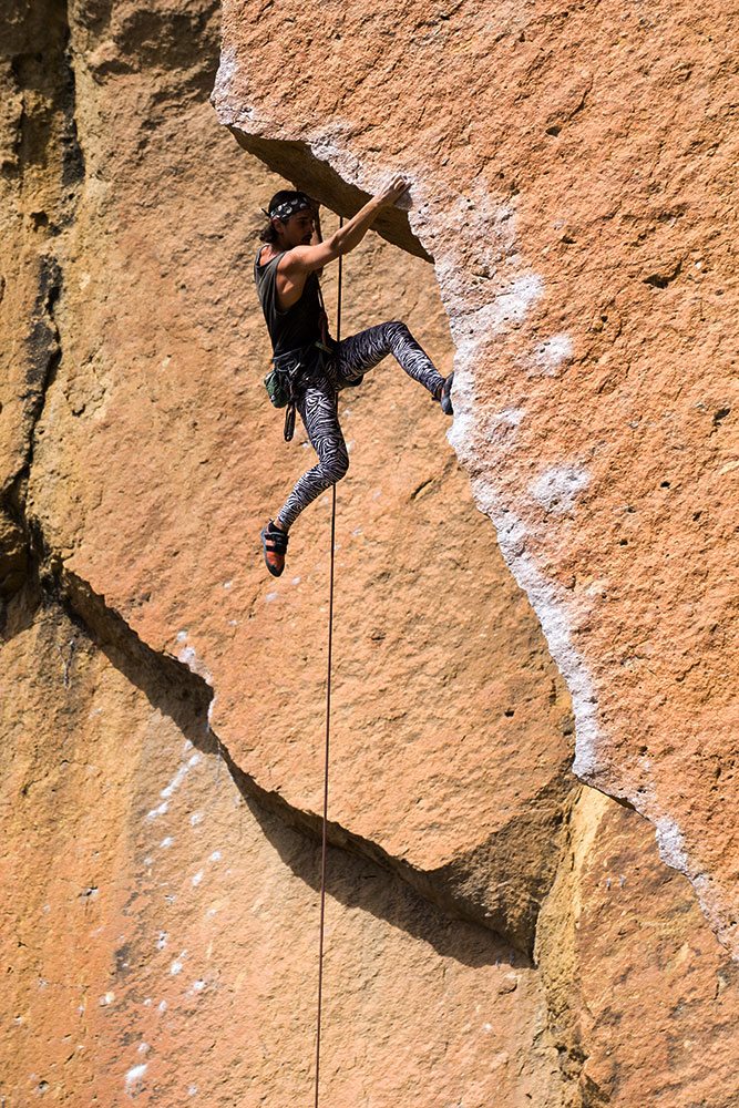 climber on Chain Reaction in the Dihedrals at Smith Rock State Park