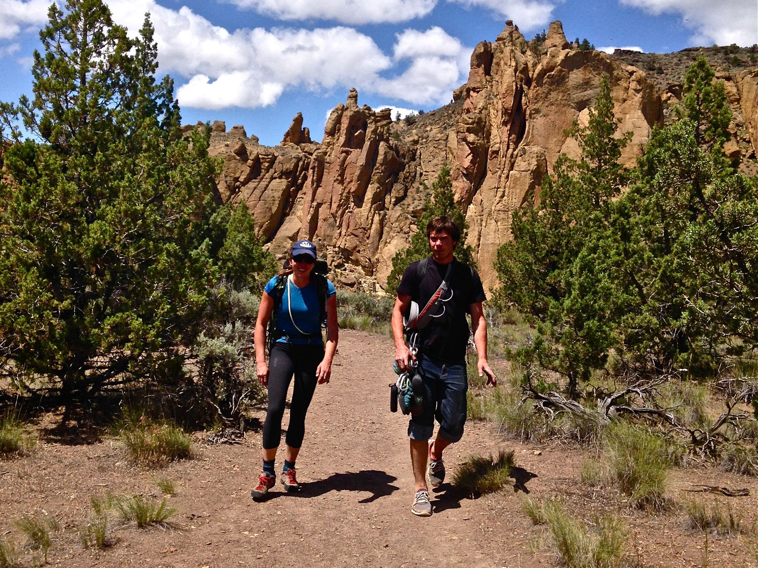climbers  headed back to the  Bivy Campground  on the Rope-de-Dope Trail at Smith Rock State Park