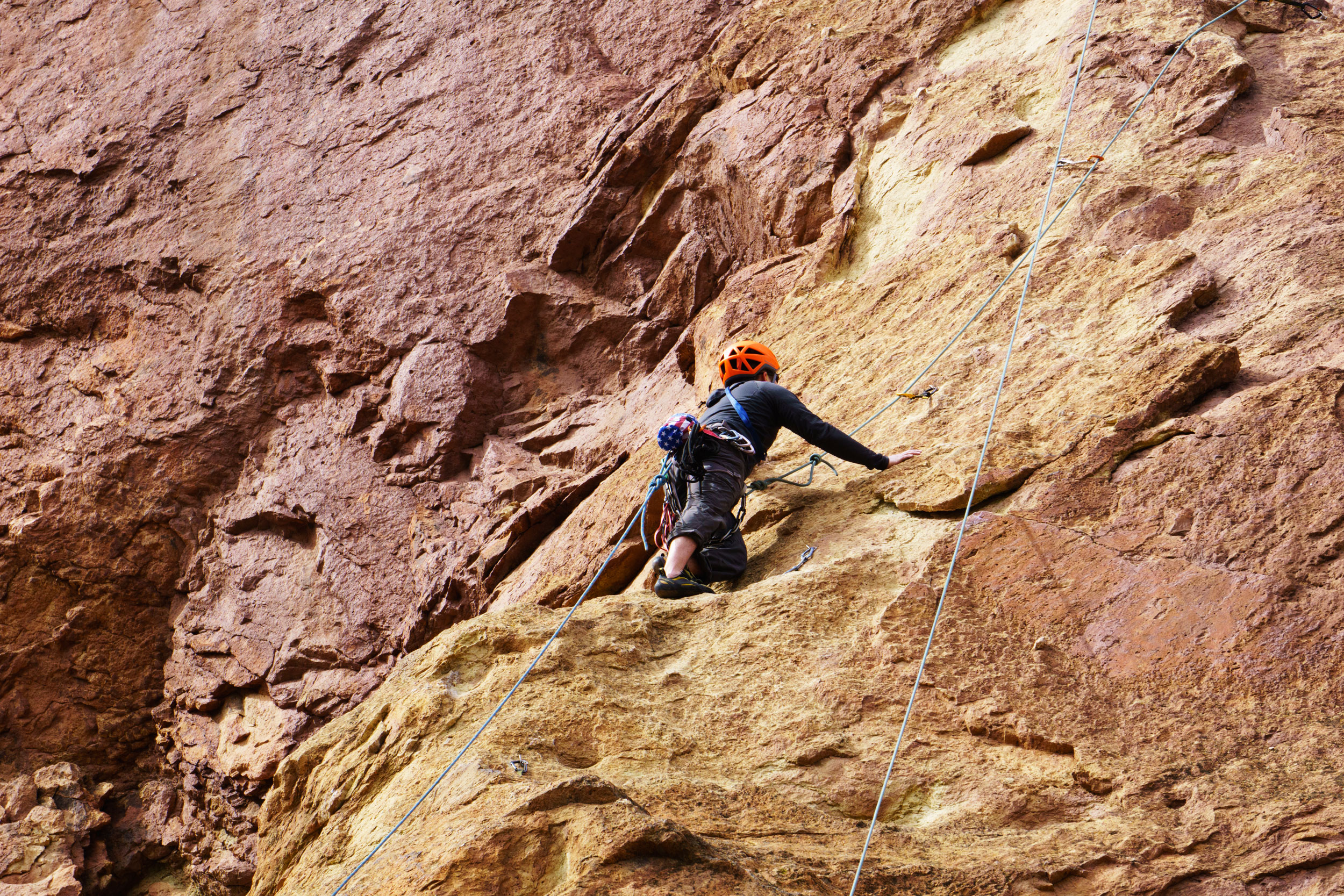 climber on the Red Wall at Smith Rock State Park