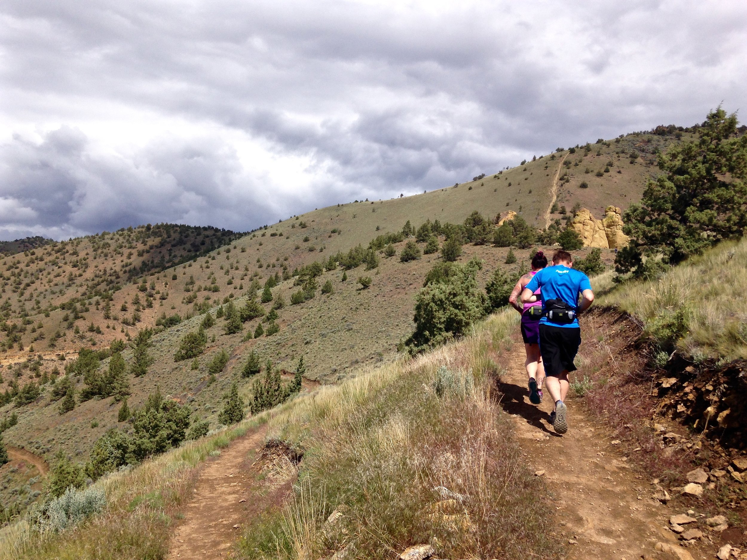 trail running on Summit Trail at Smith Rock State Park